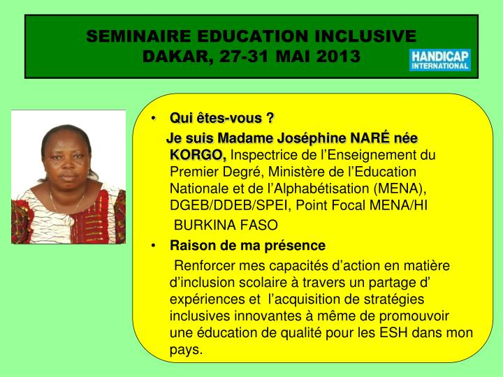 Seminaire education inclusive dakar 27 31 mai 20131