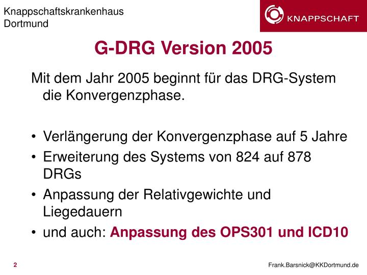 G drg version 2005