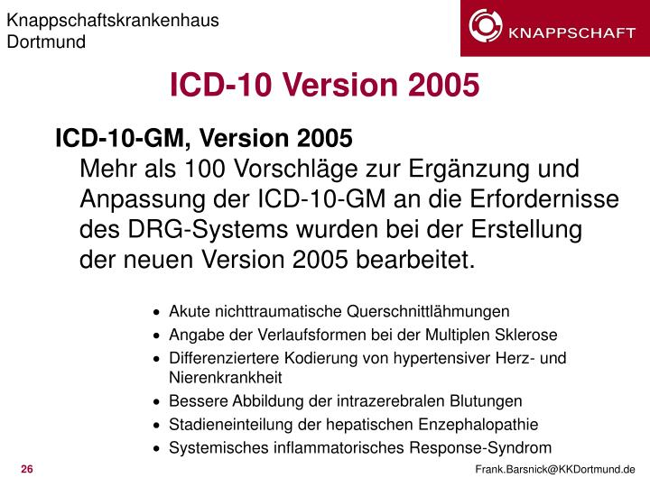 ICD-10-GM, Version 2005