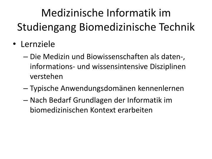 Medizinische Informatik im Studiengang Biomedizinische Technik
