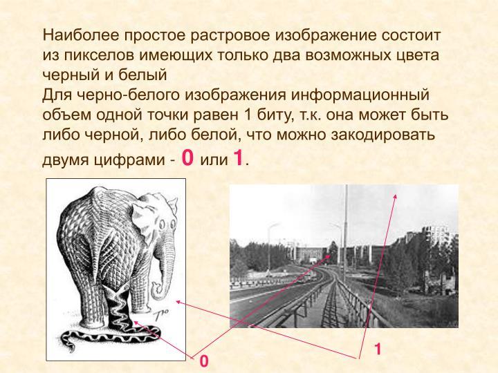 Наиболее простое растровое изображение состоит из пикселов имеющих только два возможных цвета черный и белый