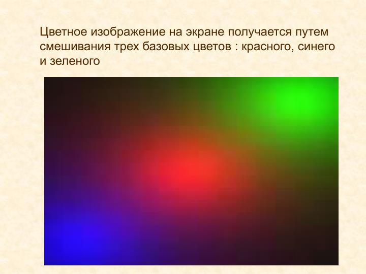 Цветное изображение на экране получается путем смешивания трех базовых цветов : красного, синего и зеленого