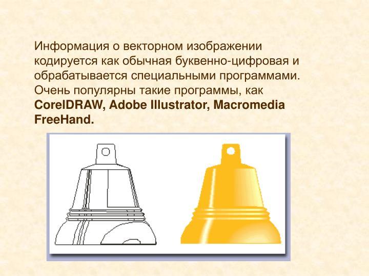 Информация о векторном изображении кодируется как обычная буквенно-цифровая и обрабатывается специальными программами.