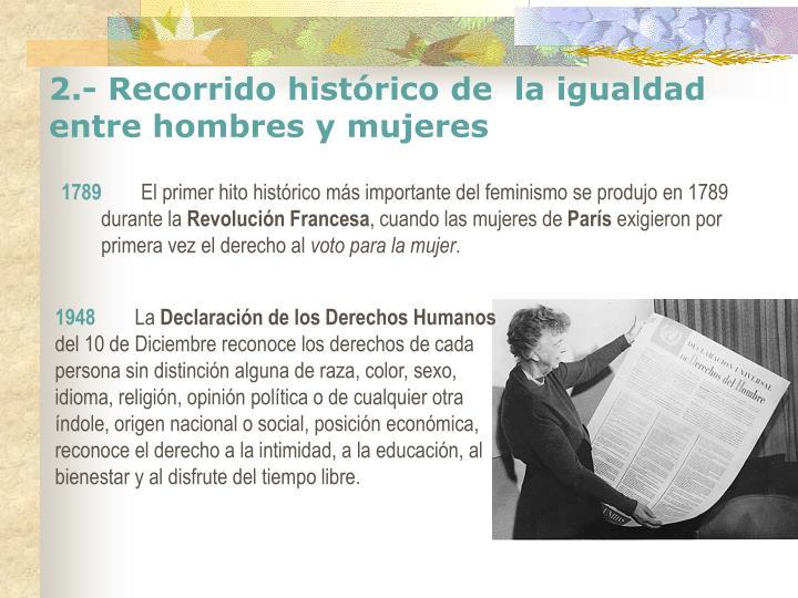 2.- Recorrido histórico de  la igualdad entre hombres y mujeres