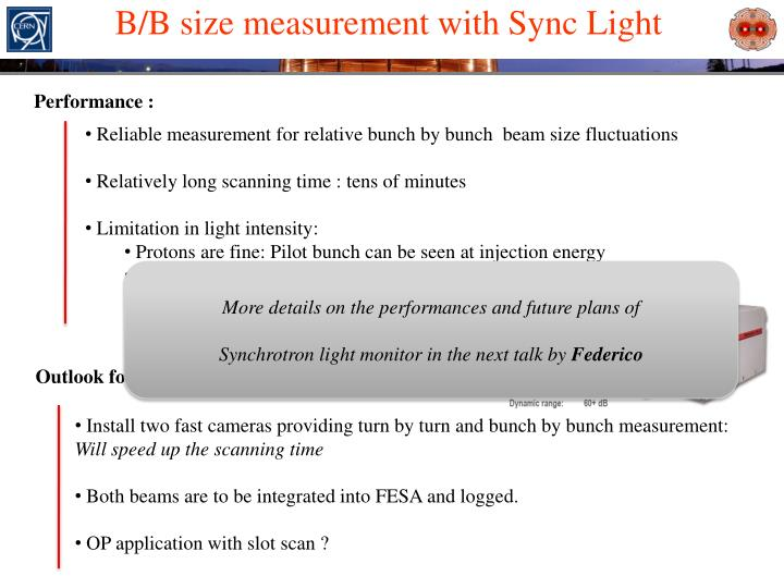B/B size measurement with Sync Light