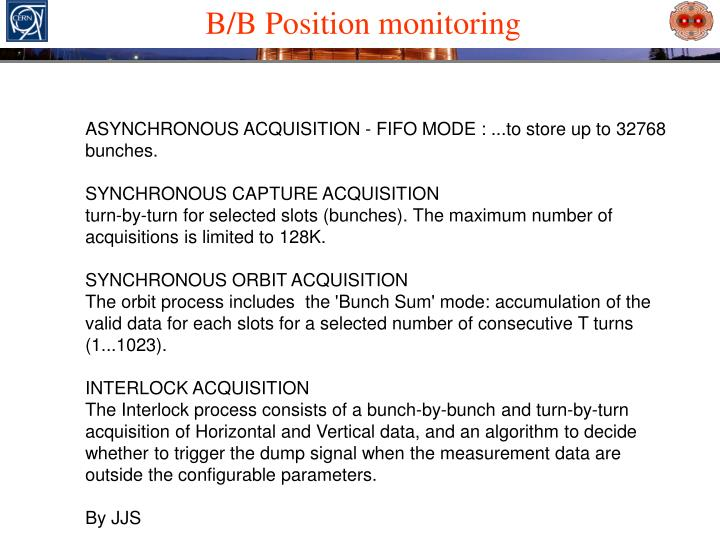 B/B Position monitoring