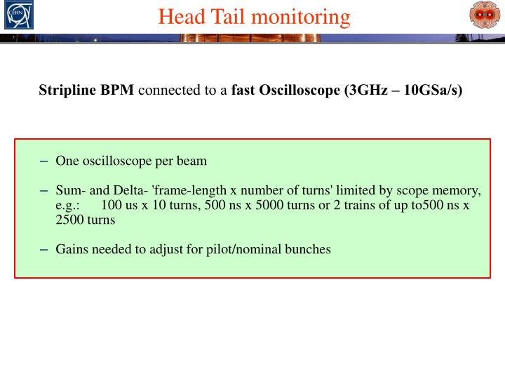 Head Tail monitoring