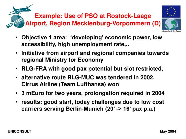 Example: Use of PSO at Rostock-Laage