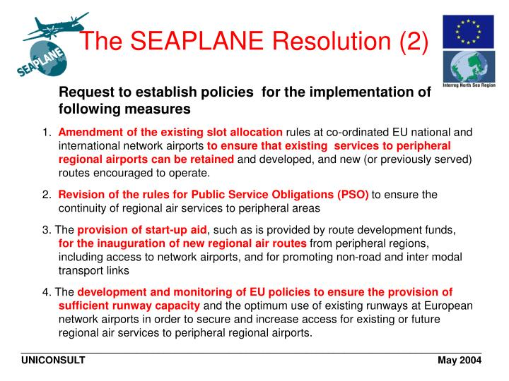 The SEAPLANE Resolution (2)