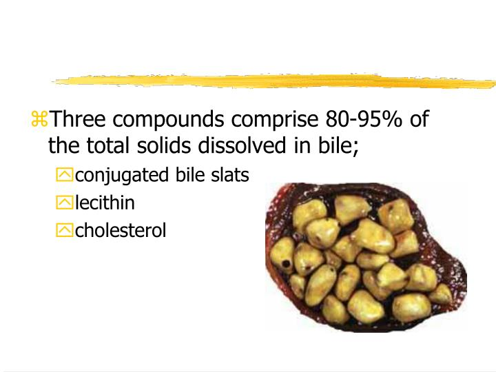 Three compounds comprise 80-95% of the total solids dissolved in bile;