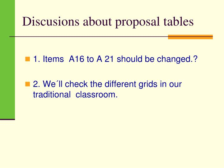 Discusions about proposal tables