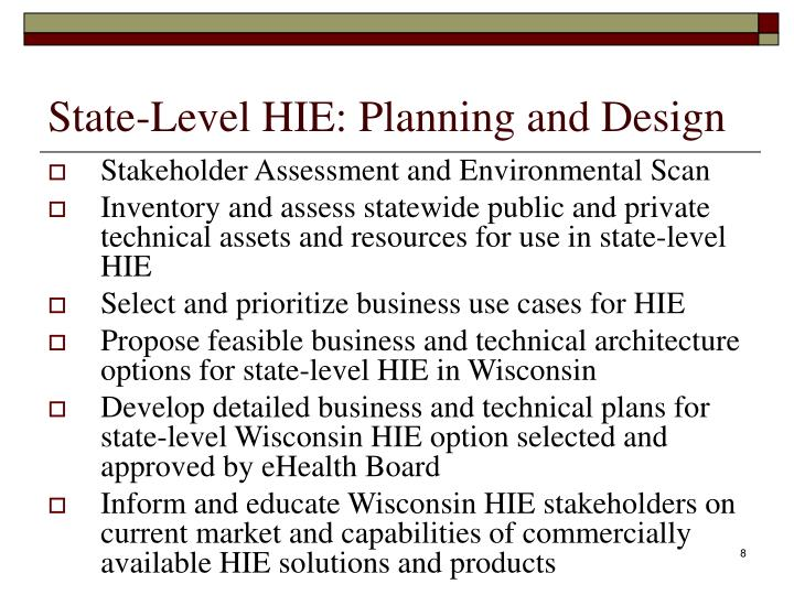 State-Level HIE: Planning and Design