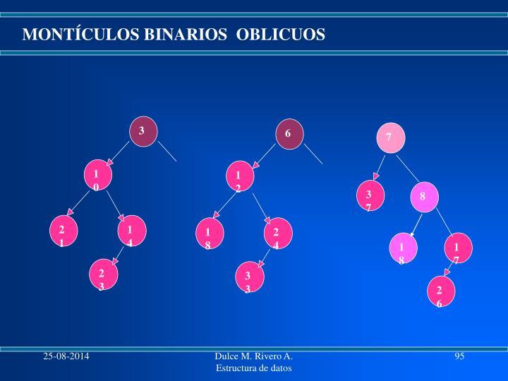 MONTÍCULOS BINARIOS  OBLICUOS