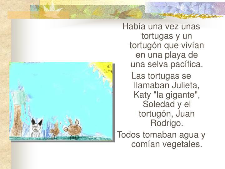 Había una vez unas tortugas y un tortugón que vivían en una playa de una selva pacífica.