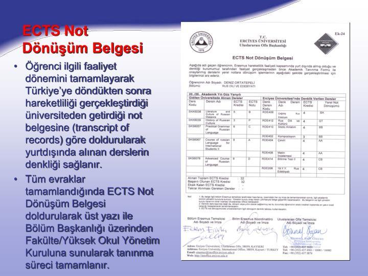 ECTS Not Dönüşüm Belgesi