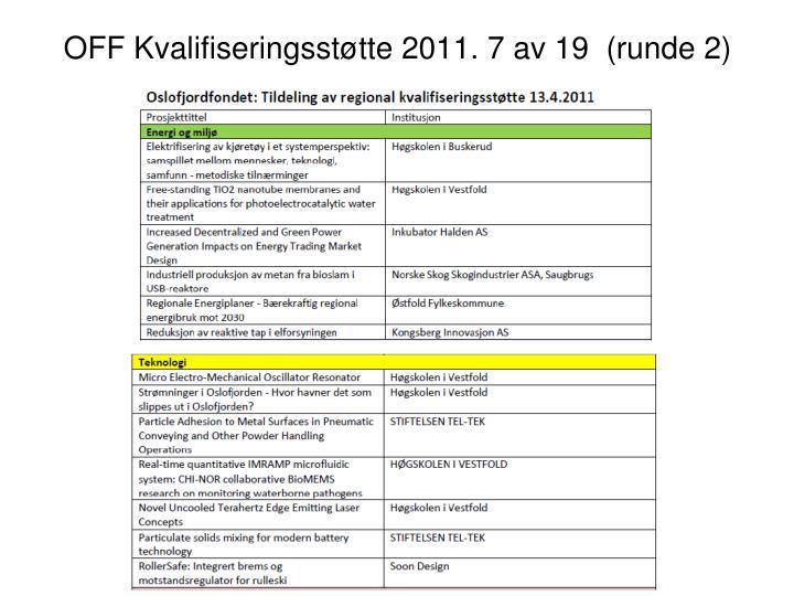 OFF Kvalifiseringsstøtte 2011. 7 av 19  (runde 2)