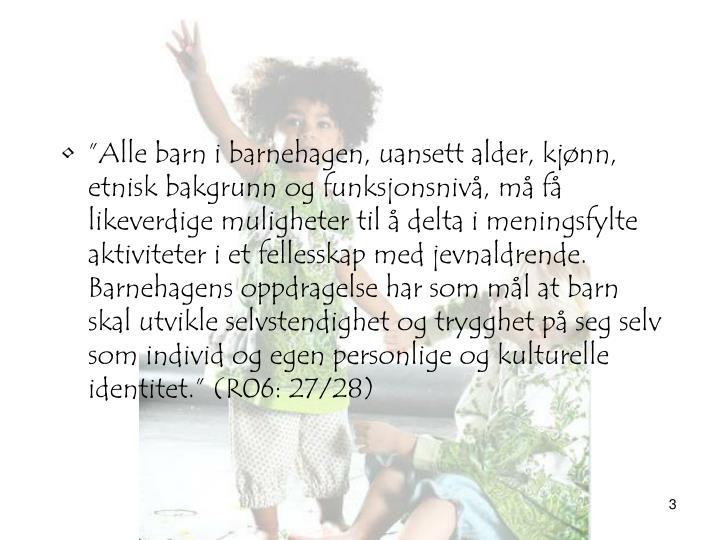 """""""Alle barn i barnehagen, uansett alder, kjønn, etnisk bakgrunn og funksjonsnivå, må få likeverdige muligheter til å delta i meningsfylte aktiviteter i et fellesskap med jevnaldrende. Barnehagens oppdragelse har som mål at barn skal utvikle selvstendighet og trygghet på seg selv som individ og egen personlige og kulturelle identitet."""" (R06: 27/28)"""