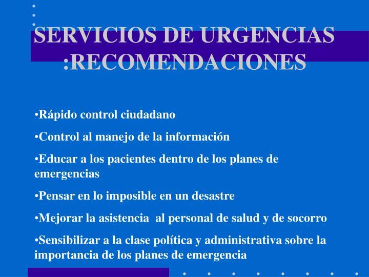 SERVICIOS DE URGENCIAS :RECOMENDACIONES