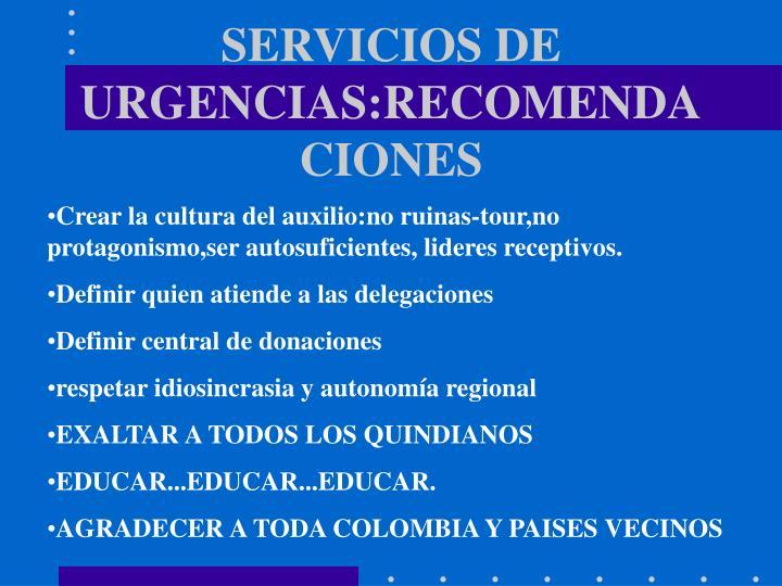 SERVICIOS DE URGENCIAS:RECOMENDACIONES