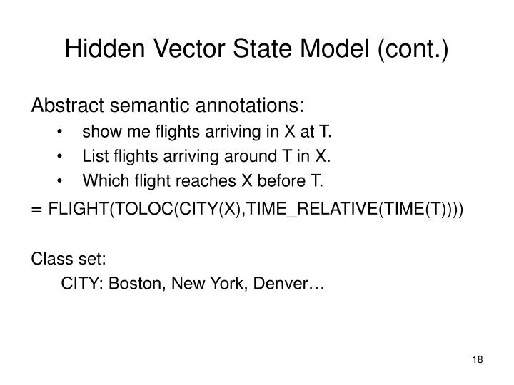 Hidden Vector State Model (cont.)