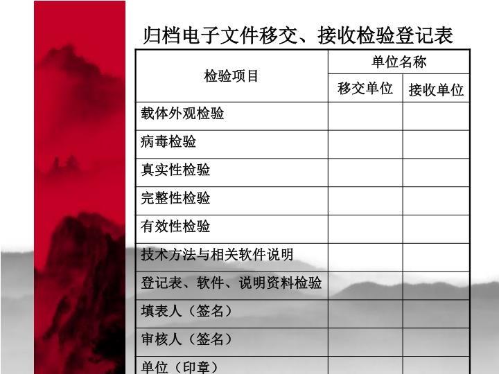 归档电子文件移交、接收检验登记表