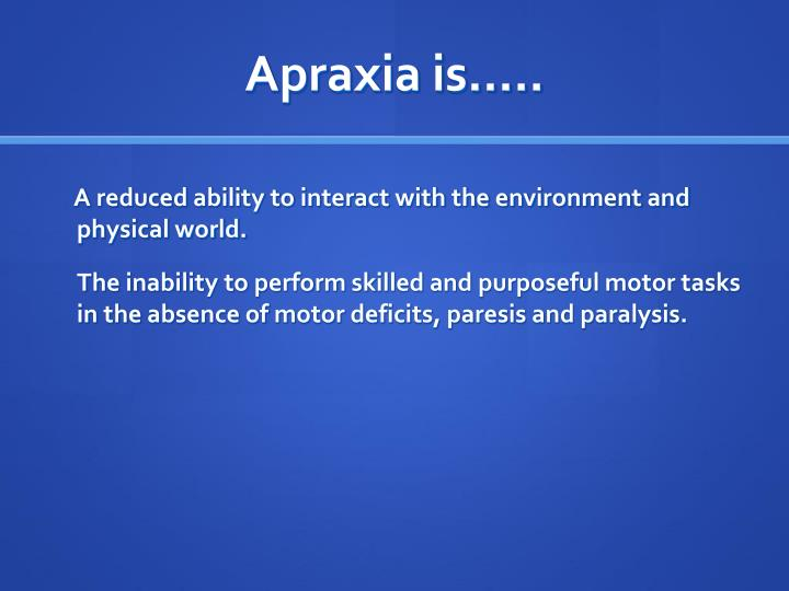 Apraxia is…..