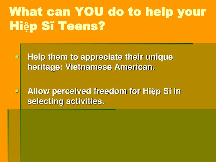 What can YOU do to help your Hiệp Sĩ Teens?
