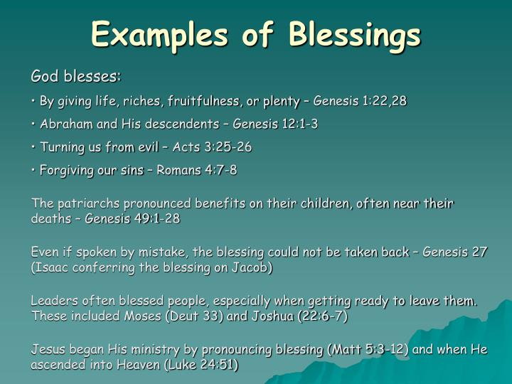 Examples of Blessings