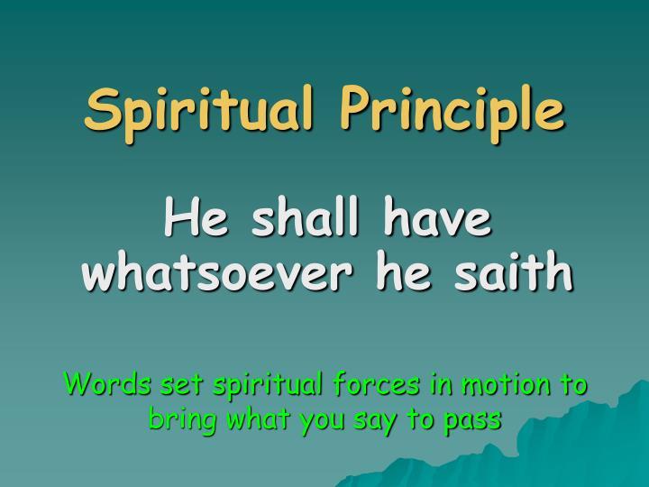 Spiritual Principle