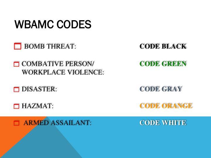 WBAMC CODES