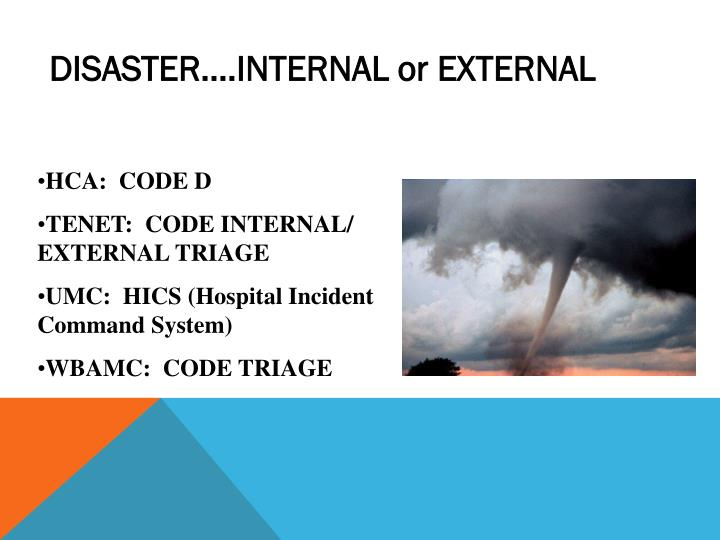 DISASTER….INTERNAL or EXTERNAL