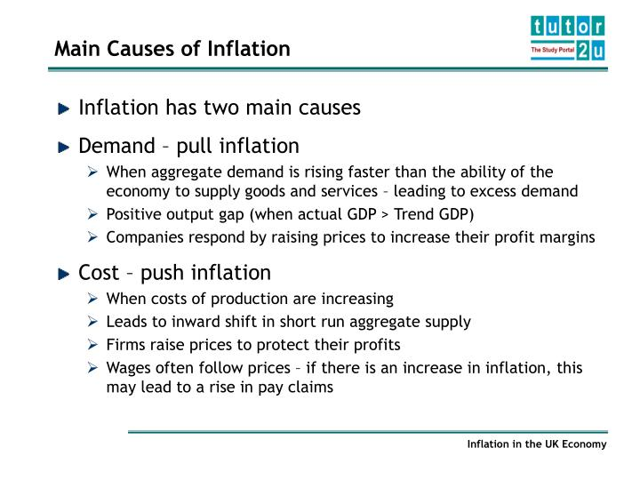 main causes of inflation Advertisements: three main causes of inflation derived by economists are as follows: 1 cost-push inflation 2 demand-pull inflation 3 monetary inflation inflation is not a random increase.