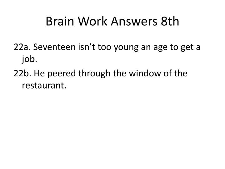 Brain Work Answers 8th