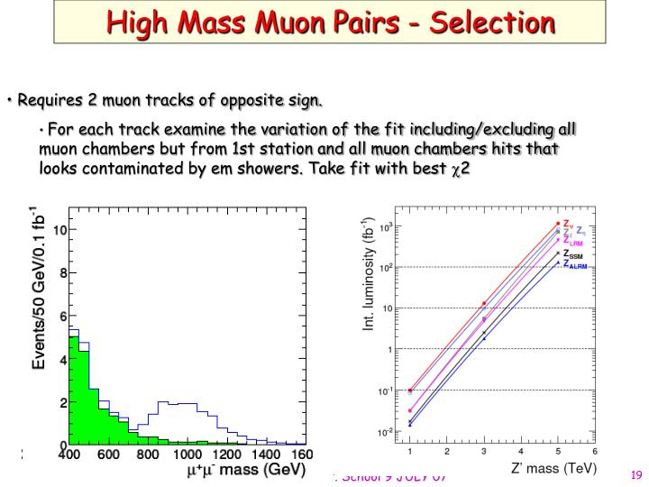 High Mass Muon Pairs - Selection