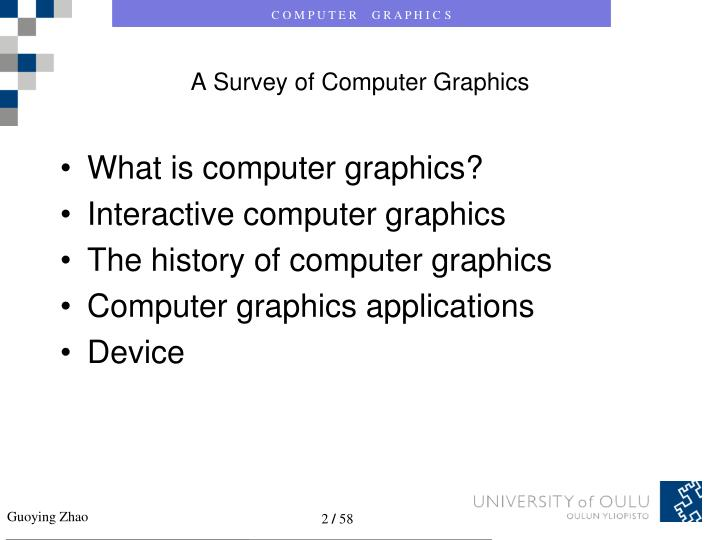 A survey of computer graphics