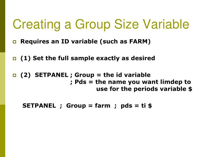 Creating a Group Size Variable
