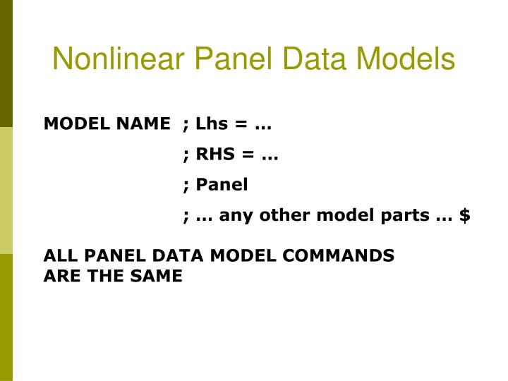 Nonlinear Panel Data Models