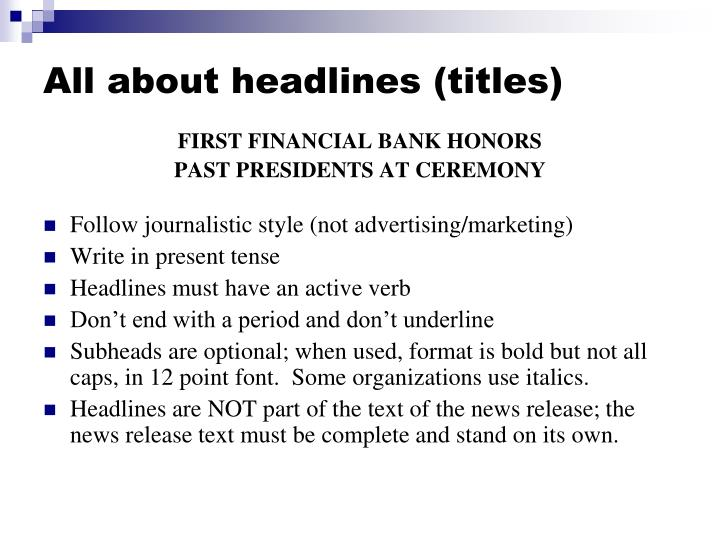 All about headlines (titles)