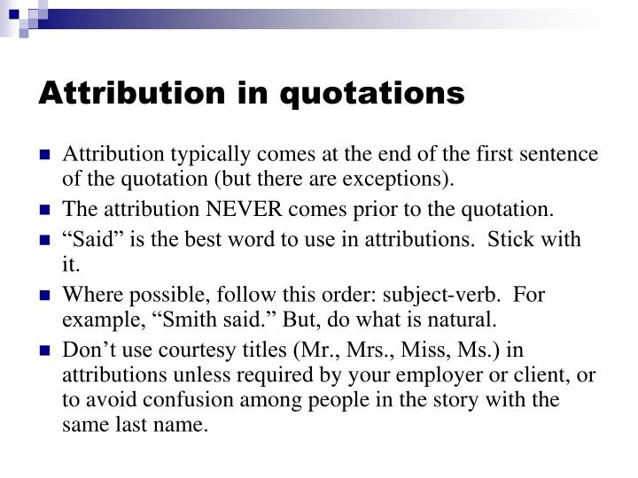 Attribution in quotations