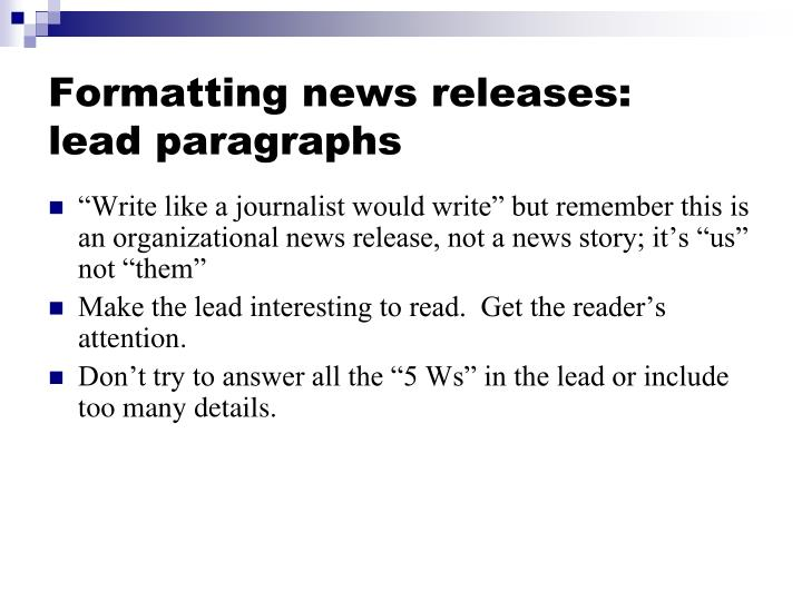 Formatting news releases: