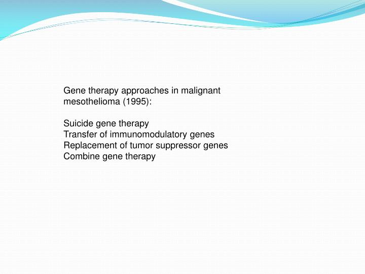 Gene therapy approaches in malignant mesothelioma (1995):