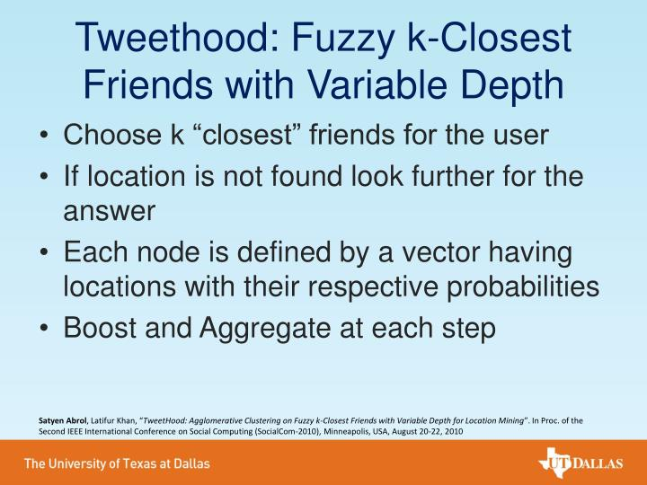 Tweethood: Fuzzy k-Closest Friends with Variable Depth