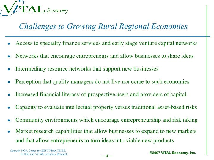 Challenges to Growing Rural Regional Economies