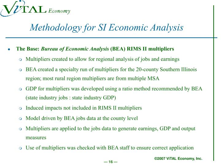 Methodology for SI Economic Analysis