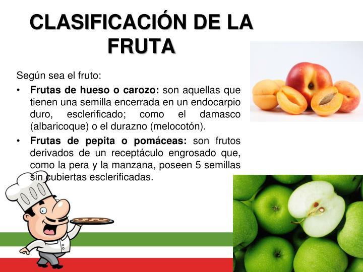CLASIFICACIÓN DE LA FRUTA