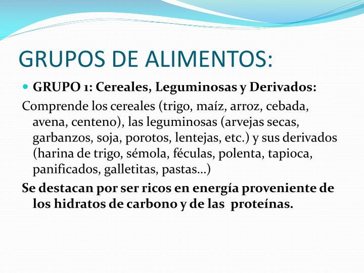 GRUPOS DE ALIMENTOS: