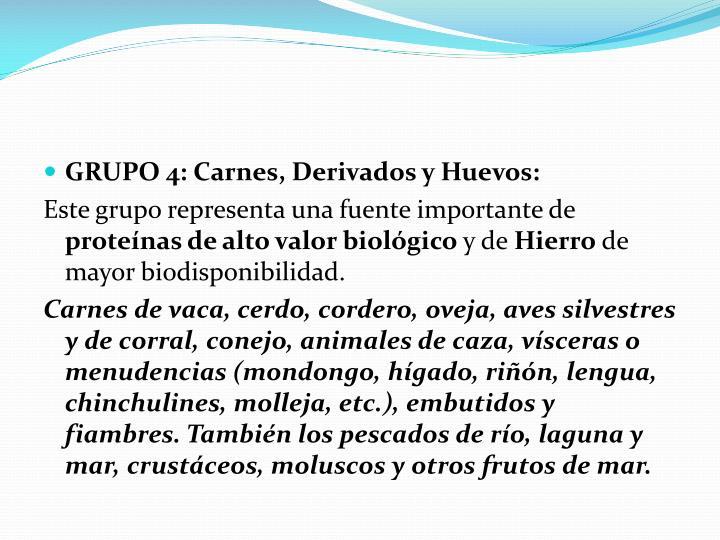 GRUPO 4: Carnes, Derivados y Huevos: