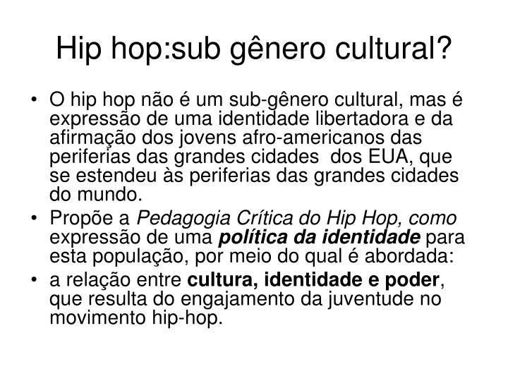 Hip hop:sub gênero cultural?