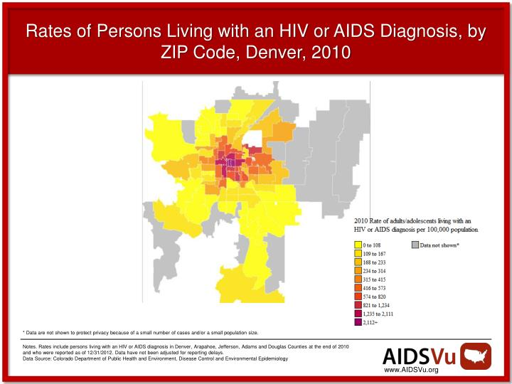 Rates of Persons Living with an HIV or AIDS Diagnosis, by ZIP Code, Denver, 2010
