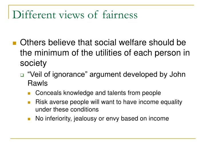 Different views of fairness